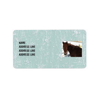 Tennessee Walking Horse Snow Background - Western Label