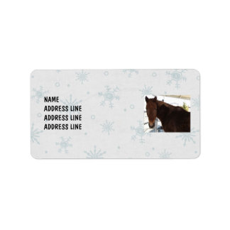 Tennessee Walking Horse Snowy Background - Western Label