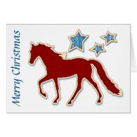 Tennessee Walking Horse Stars Merry Christmas Greeting Cards