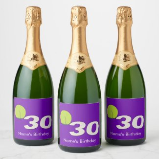 Tennis 30th Birthday Food and Beverage Label Set