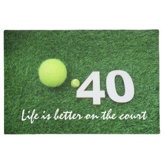 Tennis 40th birthday anniversary with tennis ball doormat