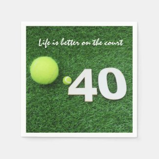 Tennis 40th birthday anniversary with tennis ball napkins