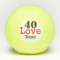 Tennis 40th Birthday ball with love and name