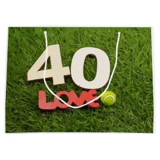 Tennis 40th birthday ball with love on green grass large gift bag
