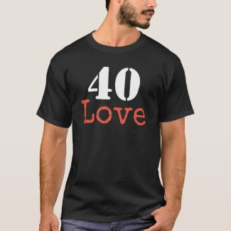 Tennis 40th Birthday  tennis ball and number love T-Shirt