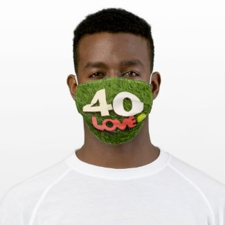 Tennis 40th Birthday with love on green grass  Adult Cloth Face Mask