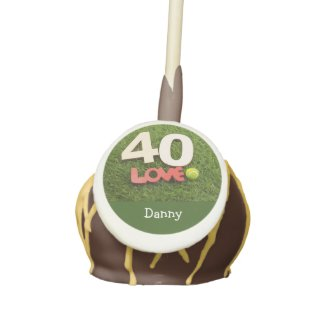 Tennis 40th Birthday with love on green grass Cake Pops