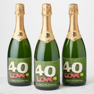 Tennis 40th Birthday with love on green grass Champagne Label