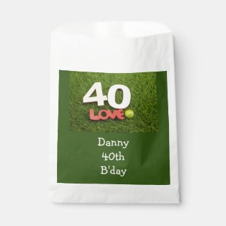 Tennis 40th Birthday with love on green grass Favor Bag