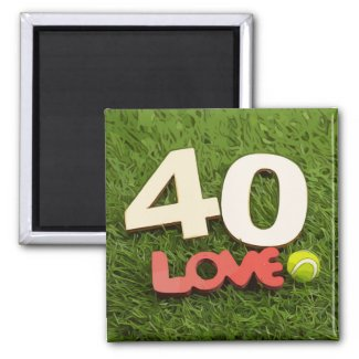 Tennis 40th Birthday with love on green grass Magnet