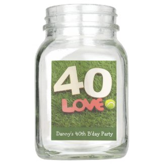 Tennis 40th Birthday with love on green grass Mason Jar