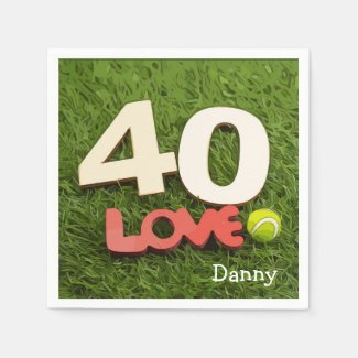 Tennis 40th Birthday with love on green grass Napkins