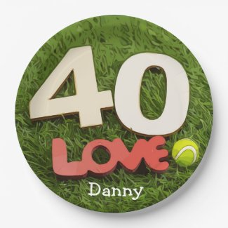 Tennis 40th Birthday with love on green grass Paper Plate