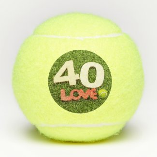 Tennis 40th Birthday with love on green grass Tennis Balls