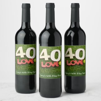 Tennis 40th Birthday with love on green grass Wine Label