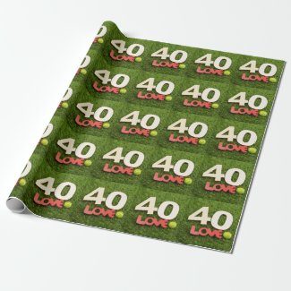 Tennis 40th Birthday with love on green grass Wrapping Paper