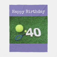 Tennis 40th Birthday with tennis ball and racket Fleece Blanket