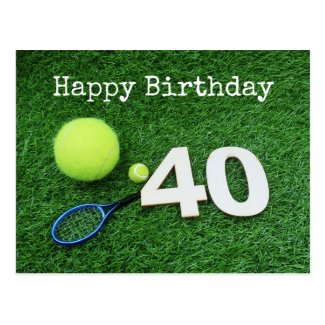 Tennis 40th Birthday with tennis ball and racket Postcard
