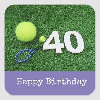 Tennis 40th Birthday with tennis ball and racket Square Sticker