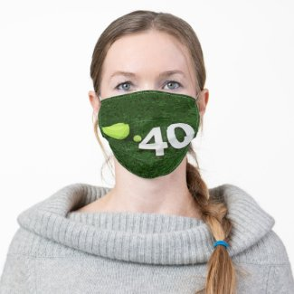 Tennis 40th Birthday with tennis ball on green Adult Cloth Face Mask