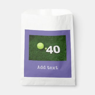 Tennis 40th Birthday with tennis ball on green Favor Bag