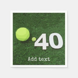 Tennis 40th Birthday with tennis ball on green Napkins
