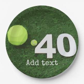 Tennis 40th Birthday with tennis ball on green Paper Plate
