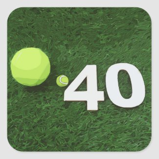 Tennis 40th Birthday with tennis ball on green Square Sticker