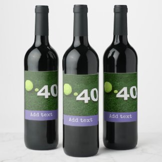 Tennis 40th Birthday with tennis ball on green Wine Label