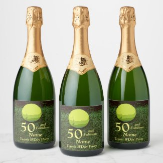 Tennis 50th and Fabulous Birthday Party Champagne Label