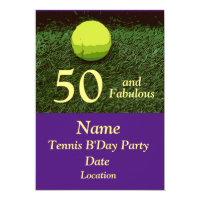 Tennis 50th and Fabulous Birthday Party Invitation