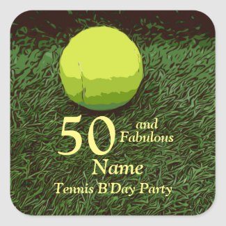 Tennis 50th and Fabulous Birthday Party Square Sticker