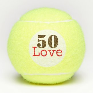 Tennis 50th Birthday  tennis ball and number love