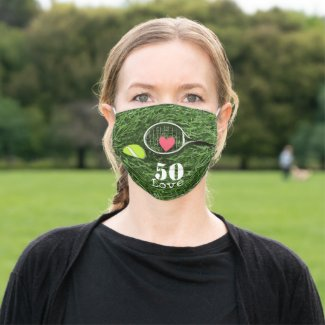 Tennis 50th Birthday  tennis ball and number love Adult Cloth Face Mask