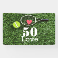 Tennis 50th Birthday  tennis ball and number love Banner