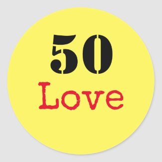 Tennis 50th Birthday  tennis ball and number love Classic Round Sticker