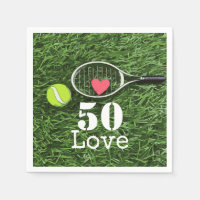 Tennis 50th Birthday  tennis ball and number love Napkins