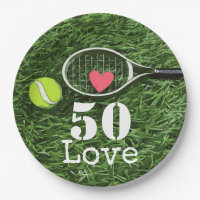 Tennis 50th Birthday  tennis ball and number love Paper Plate