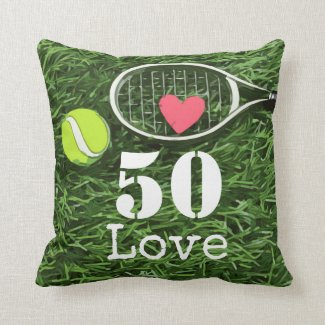 Tennis 50th Birthday  tennis ball and number love Throw Pillow
