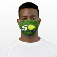 Tennis 50th Birthday with tennis ball and number Adult Cloth Face Mask