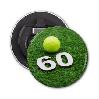 Tennis 60th birthday anniversary with tennis ball bottle opener