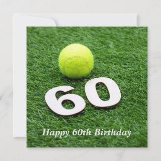 Tennis 60th birthday anniversary with tennis ball card