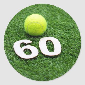 Tennis 60th birthday anniversary with tennis ball classic round sticker