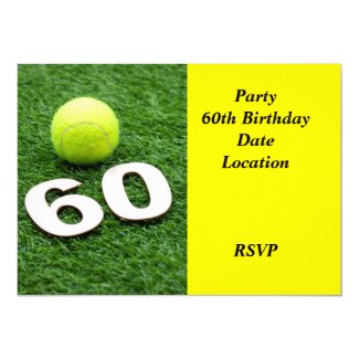 Tennis 60th birthday anniversary with tennis ball invitation
