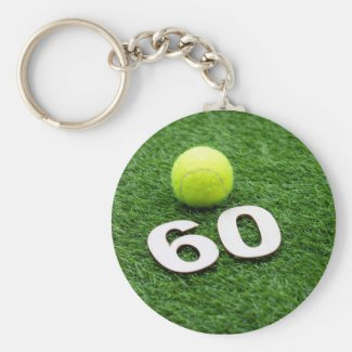 Tennis 60th birthday anniversary with tennis ball keychain