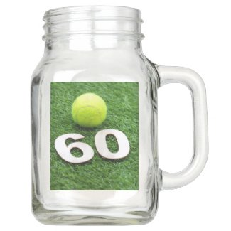 Tennis 60th birthday anniversary with tennis ball mason jar