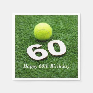Tennis 60th birthday anniversary with tennis ball napkins