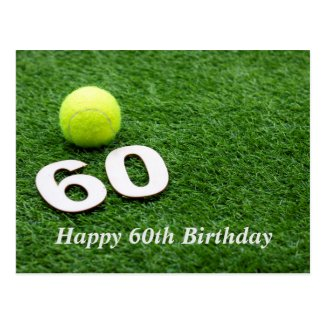 Tennis 60th birthday anniversary with tennis ball postcard
