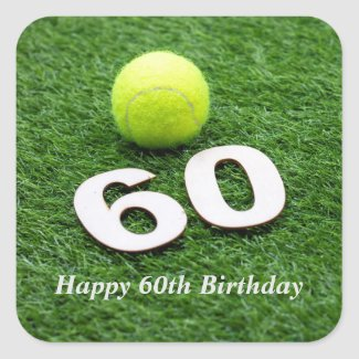 Tennis 60th birthday anniversary with tennis ball square sticker
