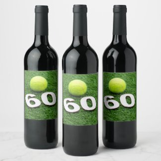 Tennis 60th birthday anniversary with tennis ball wine label